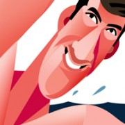 """MIchael Phelps"" Illustration Commissioned By Infographicworld in NY City."