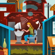 """""""Telecommuting"""" Illustration Commissioned By Infographicworld in NY City."""